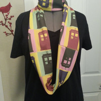 Doctor Who TARDIS multicolored Infinity KNIT scarf - made to order