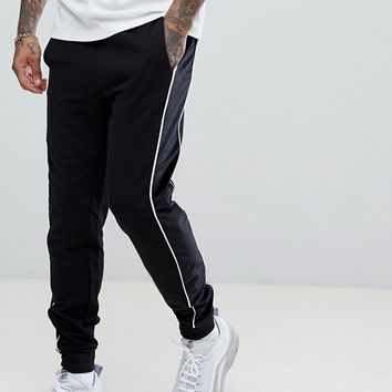ASOS Slim Joggers With Velour Panel In Black at asos.com