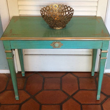 Vintage Turquoise Table/Bench