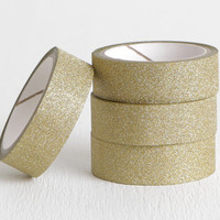 Solid Gold Glitter Washi Tape, Glitzy Glam Gold Sparkle Washi Tape, 15mm