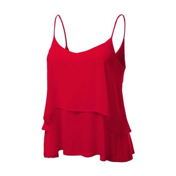 summer Womens Chiffon Sexy V Neck Sleeveless Halter neck Tank Crop Tops Vest Shirt For Women #20