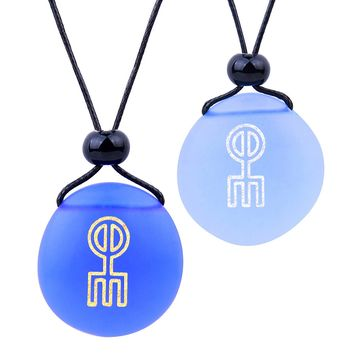 Frosted Sea Glass Stones Norse Rune Love Spell Love Couples BFF Set Amulets Sky Royal Blue Necklaces