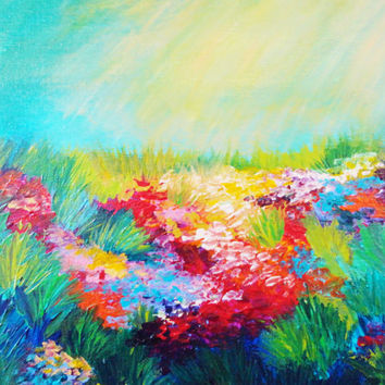 ETHERIAL DAYS Abstract Acrylic Painting, FREE Shipping, Floral Landscape 11 x 14 Rainbow Wildflowers Field, Indian Summer Gift Artwork