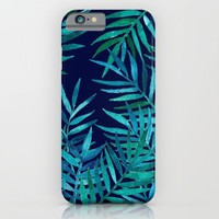 Watercolor Palm Leaves on Navy iPhone & iPod Case by Micklyn