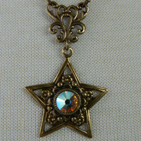 STAR BRIGHT -- aged brass-- AB Swarovski Crystal Necklace by Crow Haven Road