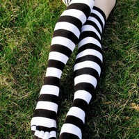 Striped Over Knee Toe Socks
