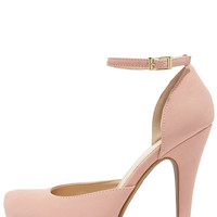 Sweetness and Light Rose Pink Nubuck Platform Heels