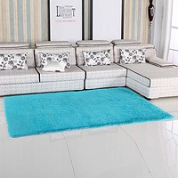 Fluffy Rugs Anti-Skiding Shaggy Area Rug Dining Rooms Carpet Floor Mats Blue shaggy rugs shag rugs