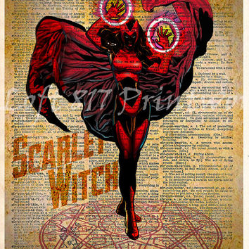 Scarlet Witch - Vintage pop art - Retro Super Hero Art - Dictionary print art