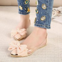 Pointed Toe Ballerina Flats Adorned With Ribbon on Luulla