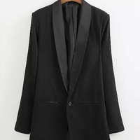 Black One-Button Blazer not available