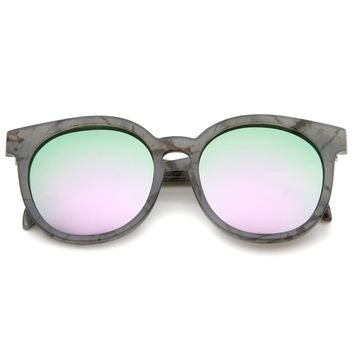 Oversized Marble Print Colored Mirror Lens Horn Rimmed Sunglasses 55mm