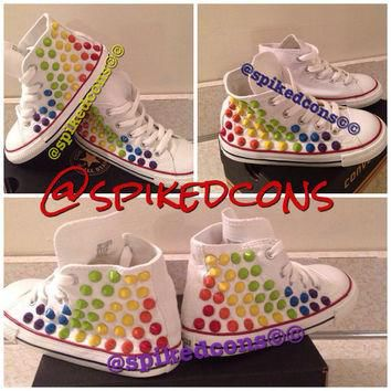 INFANT/TODDLER/YOUTH Rainbow spike studded converse (hard bottoms)