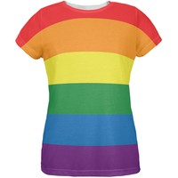 LGBT Rainbow Gay Pride Flag All Over Womens T-Shirt