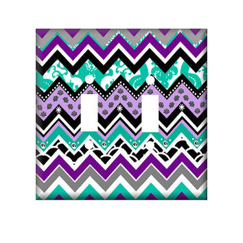 Turquoise Purple Chevron Switchplate Double or Single Cover Crazy for Chevrons