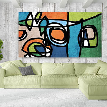 """Vibrant Colorful Abstract-0-40, Mid-Century Orange Blue Green Canvas Art Print, Mid Century Modern Canvas Art Print up to 72"""" by Irena Orlov"""