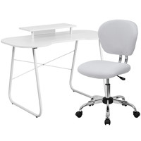 White Computer Desk with Monitor Stand and Mesh Chair