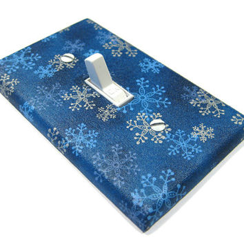 Blue and Silver Snowflakes Light Switch Cover Winter Home Decor Holiday Decoration Christmas