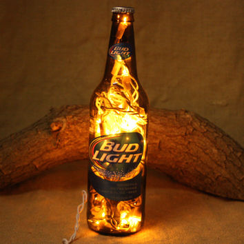 Beer Bottle Light, Upcycled Bud Light Bottle, Decor for Mancave, Bar Light