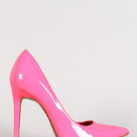 Women's Shoe Republic Neon Patent Pointy Toe Stiletto Pump