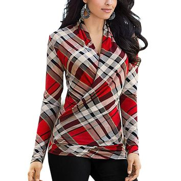 Plaid Crossover Red V-Neck Shirt