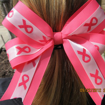 BREAST CANCER AWARENESS hair bow by MZBOWTIQUE on Etsy