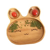 Children Wooden Food Dish Kids Divided Plates Baby Tableware