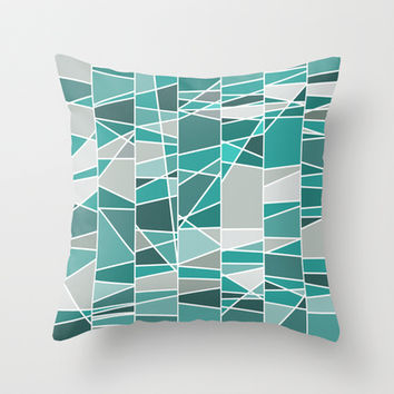 Turquoise and grey Throw Pillow by Silvianna