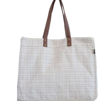 Woven Grey Carryall Tote