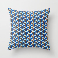 Colorful Throw Pillow - Blue Ygoon - Throw Pillow Cover ,16x16, Blue and Brown, Light Blue, Dorm Decor, Home Decor