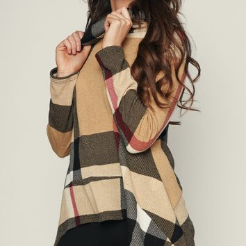 Burr-Baby Cowl Neck Sweater (Taupe)
