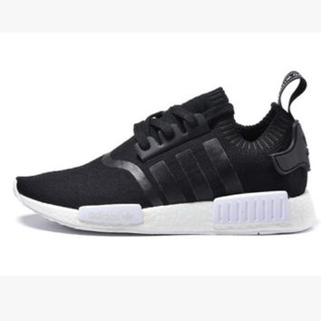 "Women ""Adidas"" NMD Boost Casual Sports Shoes Black black stripe"