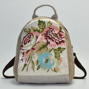 University College Backpack DICEVALM  Style Embroidered Linen  Female Small Flower Student School Bags For Teenage Girls Casual Shoulder BagsAT_63_4