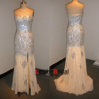 2015 Cheap New Fashion Sweetheart Heavy Crystals Beaded Chiffon Champagne Prom Dress Gowns Long/Homecoming Dress/Evening Dress/Party Dress