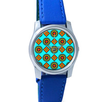 Abstract Tribal Circle Rings Pattern (Sky Blue) Wrist Watch