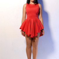Red Sleeveless Triangle Shape Skater Dress