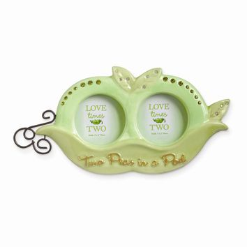 Peas in a Pod Ceramic Double Photo Frame