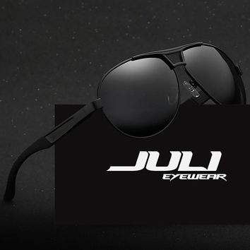 JULI Men Aluminum Polarized Sunglasses Men Classic Brand Sunglasses Police Eyewear Coating Mirror Sun Glasses Driving Oculos