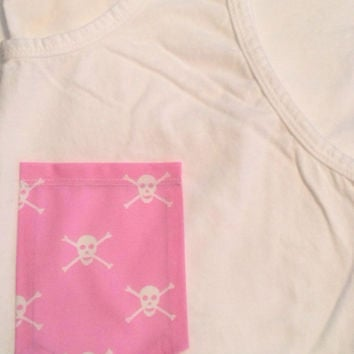 Pink Skull Pocket Tank, Tee, V-Neck, or Long Sleeve