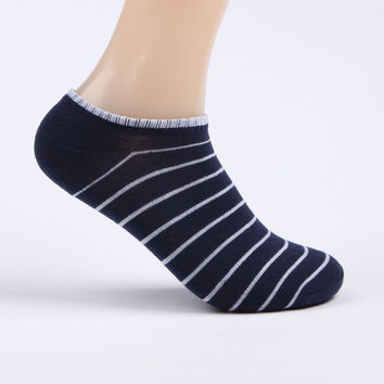 Mens Strip Cotton Socks Adult Men Slippers Sock Casual Thin Socks Invisible Low Cut