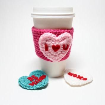 Conversation Heart Coffee Cozy, Valentine's Day Coffee Sleeve, Heart Crochet Can Cozy,