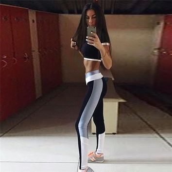 GXQIL Women Tracksuit T-shirt Sport Suit Gym Woman Sportwear Crop Top Yoga Set Fitness Costume Running Jogging Kits Clothes 2018