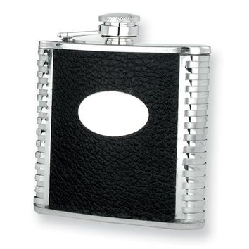 Black Faux Leather Polished Stainless Steel Hip Flask - Engravable Gift Item
