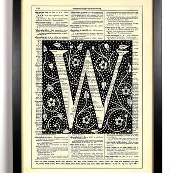Letter W Block Filigree Typography Repurposed Book Upcycled Dictionary Art Vintage Book Print Recycled Dictionary Page Buy 2 Get 1 FREE