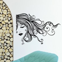 Wall Decal Vinyl Sticker Beauty Girl Hair Salon Spa Decor Sb490