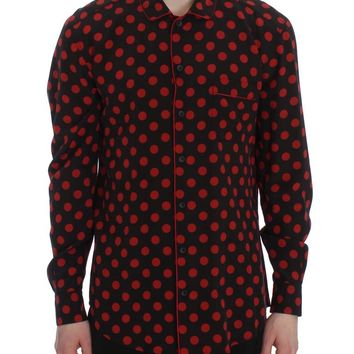Black Red Polka SILK Sleepwear Shirt