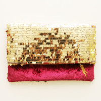 THE TOUCH / Sequin & Velvet folded clutch - Ready to Ship- OOAK