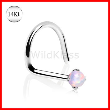 14kt Solid Gold Ring Screw Nose Ring Opalite Prong Set Opal Solid White Gold