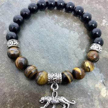 Tiger eye, Black Agate beaded men's bracelet