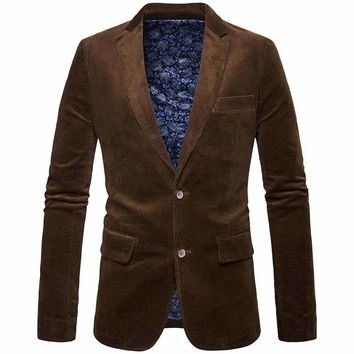 ly Male Winter Business Suit Jacket Coat Retro Style Slim Fit Corduroy Blazer Men Casual Elbow Unique